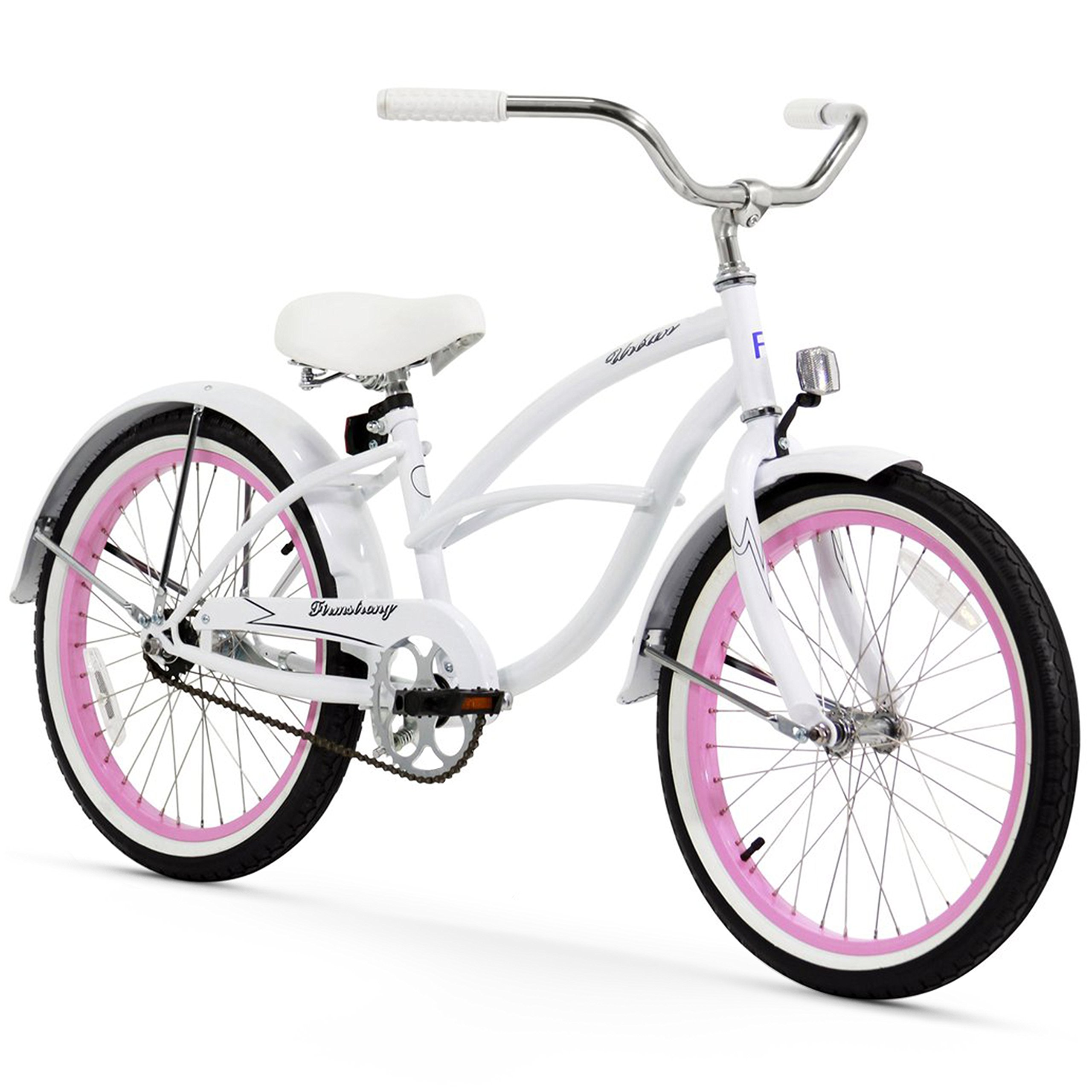 Firmstrong Urban Girl Single Speed Beach Cruiser Bicycle, 20-Inch, White w/ Pink Rims by Firmstrong