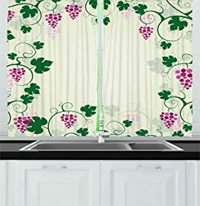 Ambesonne Nature Kitchen Curtains, Grape Vines Framework Fruit Garden Curvy Branches Leaves Vintage Illustration, Window Drapes 2 Panel Set for Kitchen Cafe Decor, 55