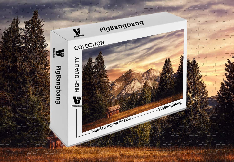 【超特価】 PigBangbang、プレミアムバスウッドラージサイズ山 22.6インチ) 自然木 自然木 - 1500ピースジグソーパズル (34.4 B07J4PMKW4 X 22.6インチ) B07J4PMKW4, SDSダイレクトショップ:b259c620 --- sinefi.org.br