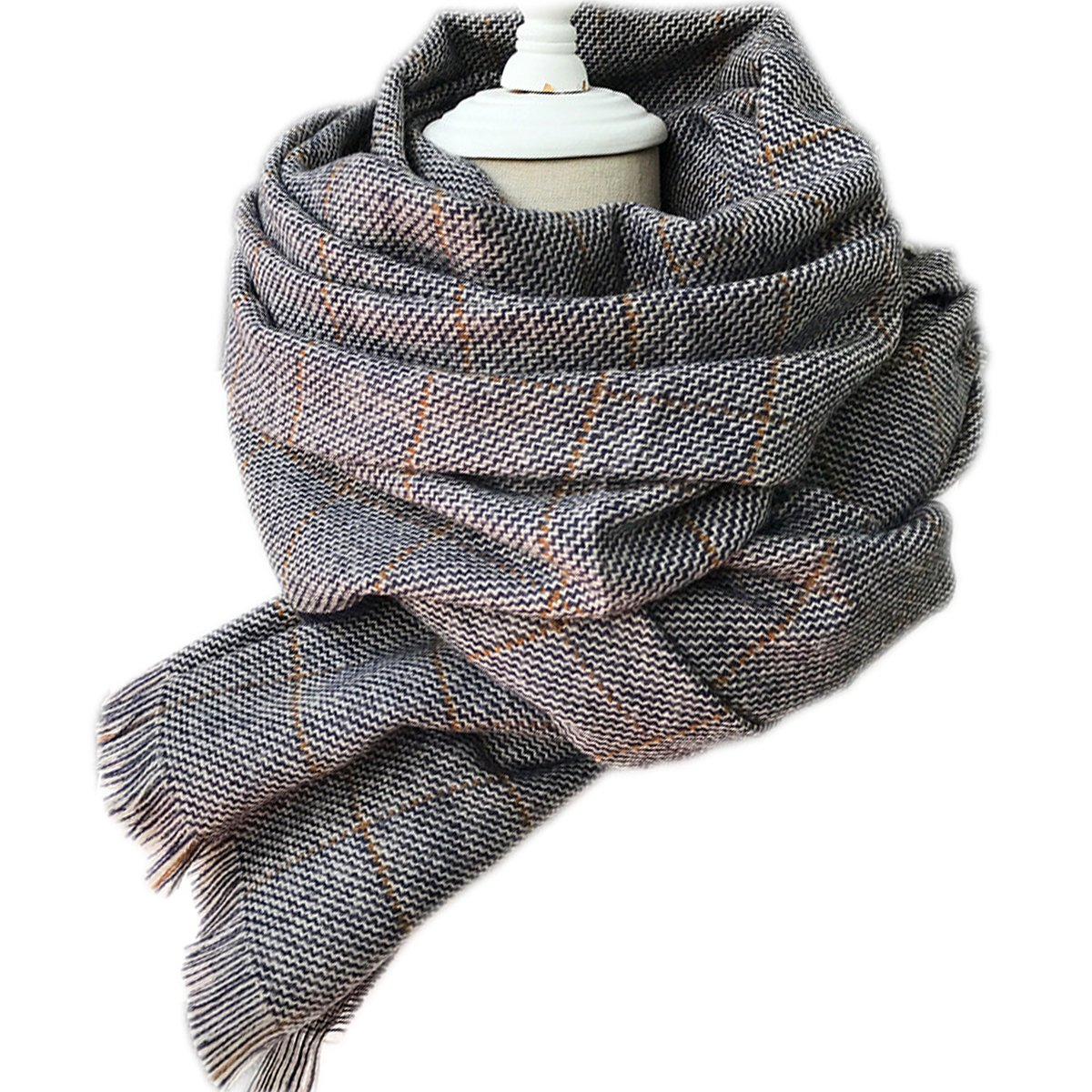 MeliMe Women Men Plaid Blanket Scarf Winter Wool Tartan Fringe Scarves Oversize Thick Wraps Shawl (Style 04)
