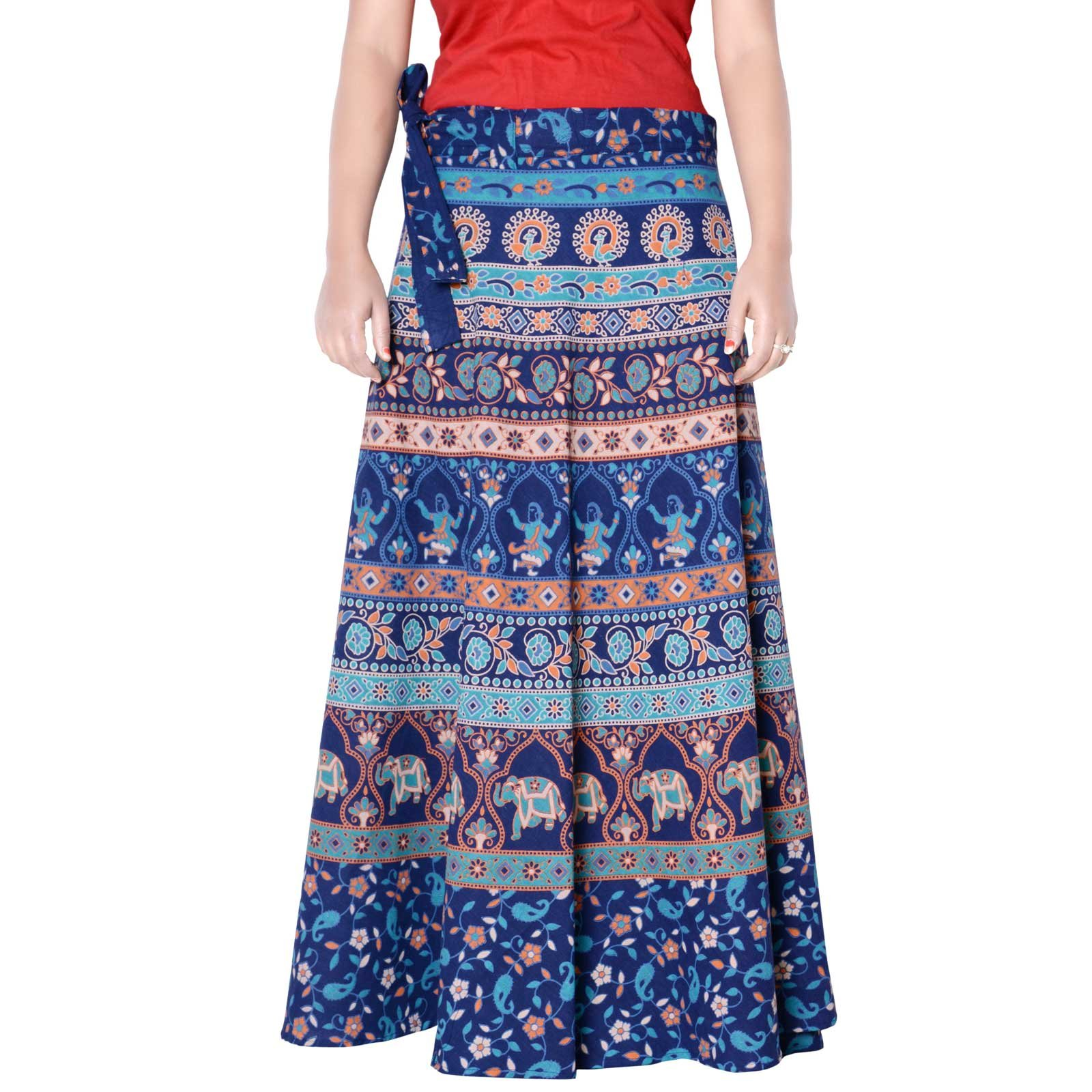 Sttoffa High Waist Skirt Ethnic Style Cotton Wrap Around Skirt Turquoise Color Free Size Skirt 36 Length Skirt D3