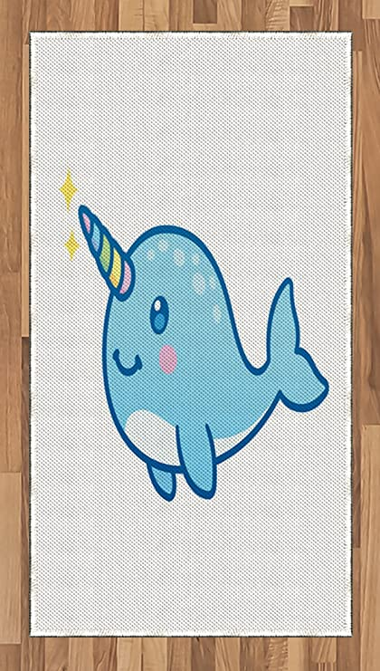Image of: Whale Narwhal Ambesonne Narwhal Area Rug Cartoon Drawing Style Whale With Rainbow Horn Unicorn Of The Ocean Amazoncom Amazoncom Ambesonne Narwhal Area Rug Cartoon Drawing Style Whale