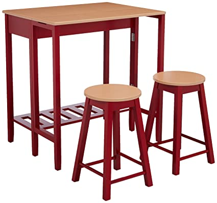 Kings Brand Furniture 3 Piece Kitchen Island Breakfast Bar Set Drop Down  Table U0026 2 Stools