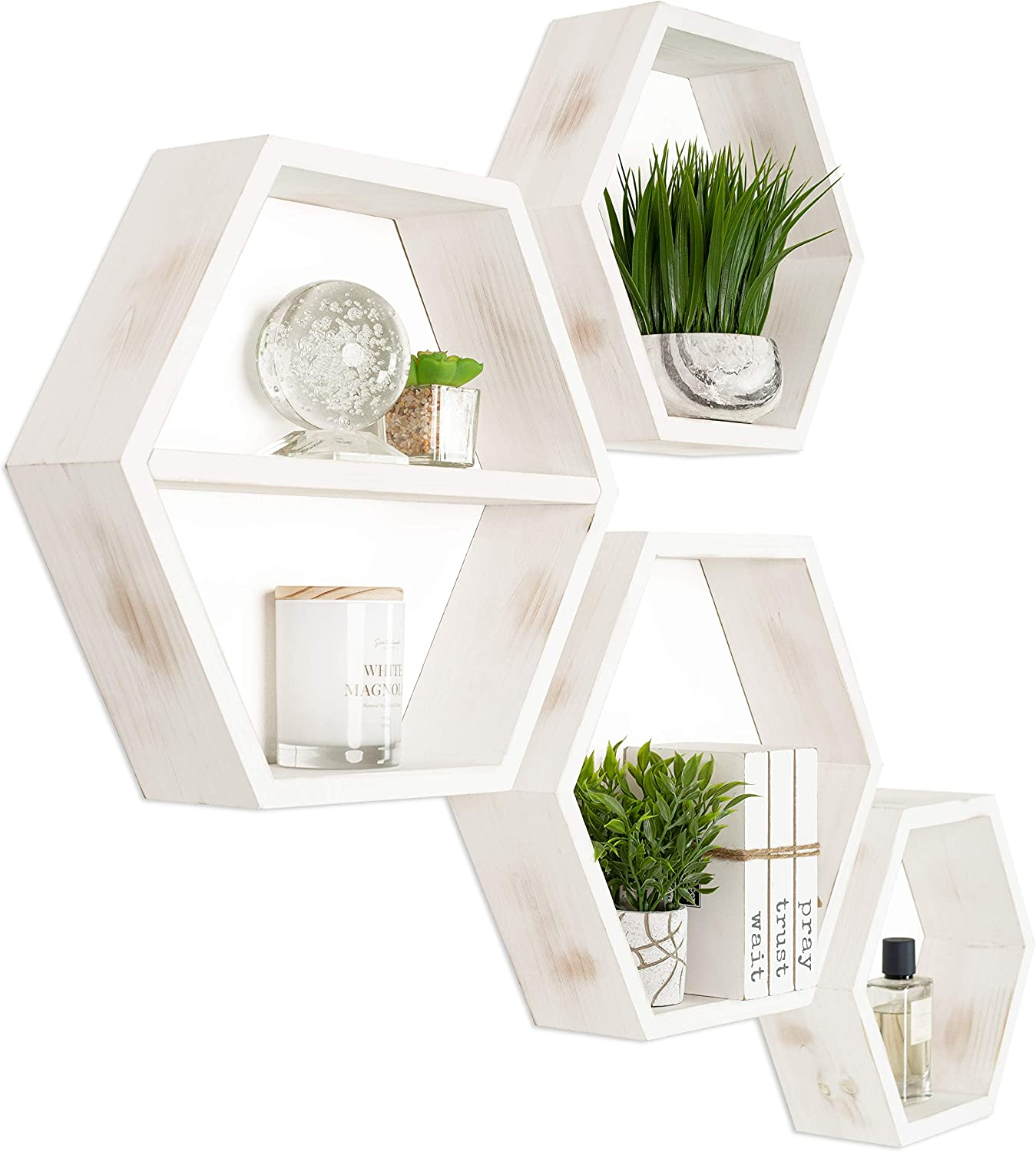 Hexagon Shelves - Large Set of 4 - Rustic White Honeycomb Shelves - Hexagonal Floating Shelves for Wall - Wooden Octagon Hanging Shelf - Farmhouse Boho Nursery Home Decor - Modern Solid Wood