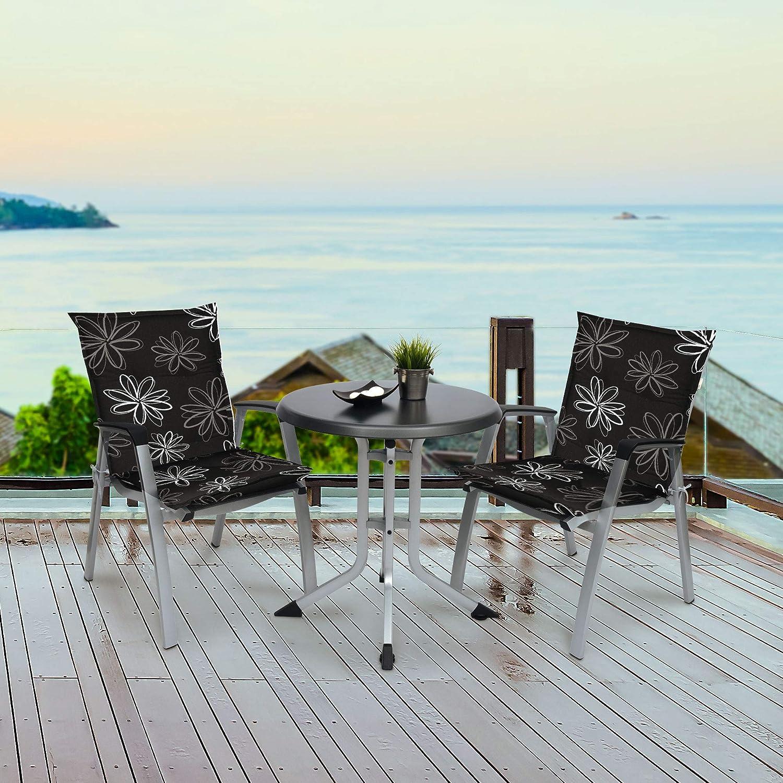 Cuscino per Sedia da Giardino con Schienale Basso Motivo a Strisce Schwar Textilien Colore: Grigio//Bianco