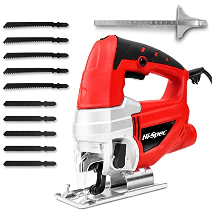 Hi-Spec 600W Power Electric Jigsaw with Quick Blade-Change Safety Clamp,  10pc Mixed Blade Set, Variable Speed Control, Trigger Switch with Lock-On  For