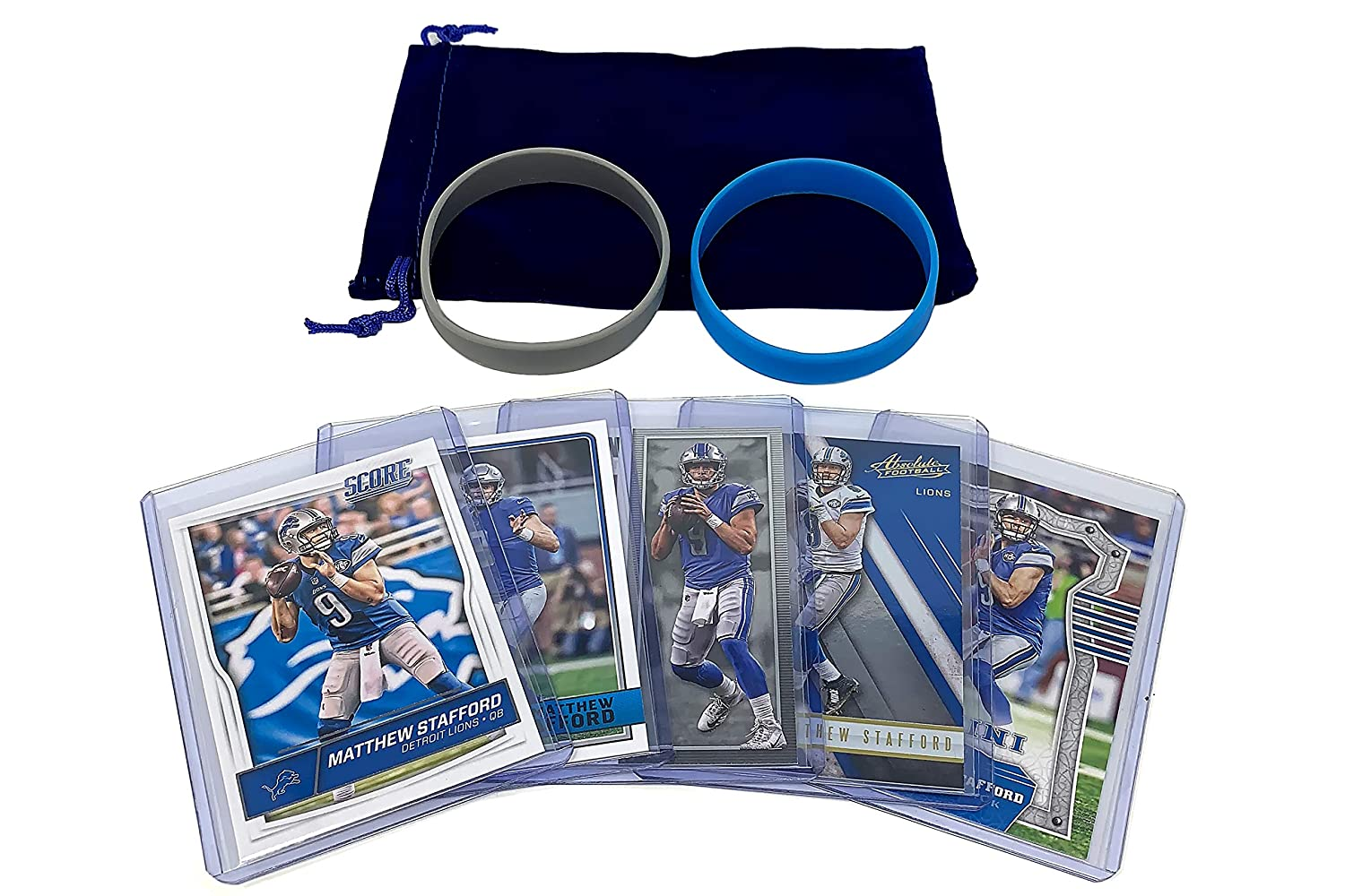 Matthew Stafford Football Cards (5) Assorted Bundle - Detroit Lions Trading Card Gift Set Panini Bowman Topps