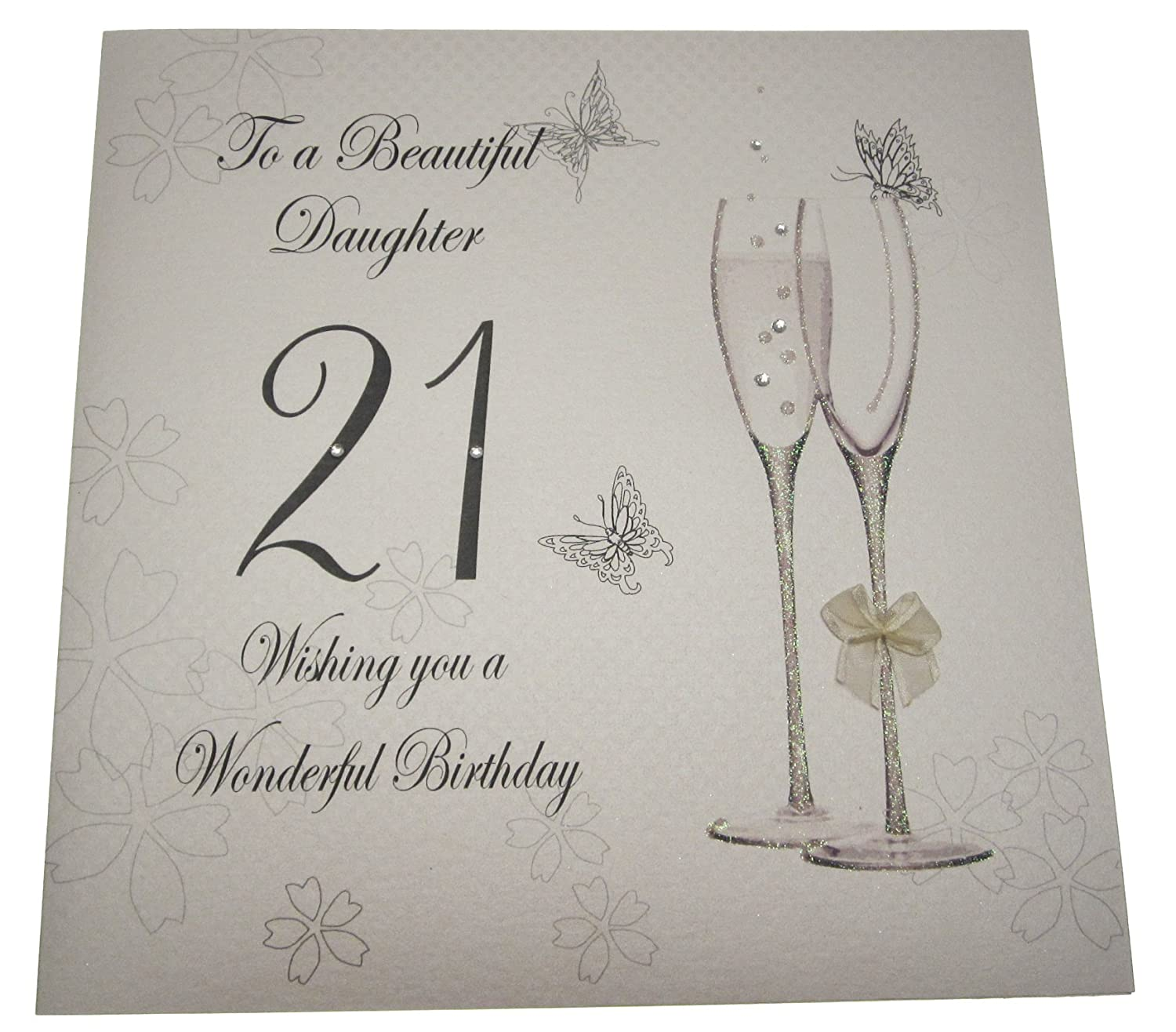 WHITE COTTON CARDS Code XBDD21 To A Beautiful Daughter 21 Wishing You Wonderful Birthday Handmade Large 21st Card Amazoncouk Kitchen Home