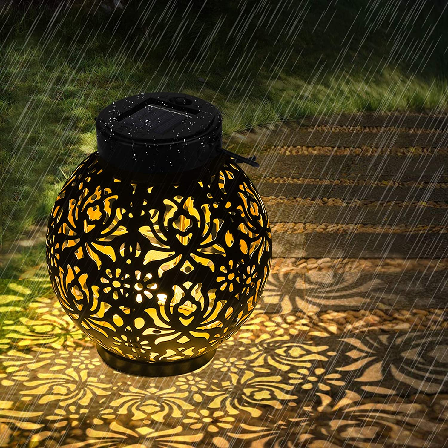 LED Solar Lights Outdoor, OOWOLF Landscaping Lights Garden Decor, Backyard Lights Outdoor with IP44 Waterproof LED Table Lamp Decorative for Terrace, Backyard, Front Door, Path, Street, Lawn