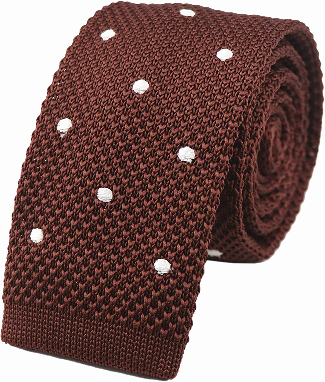 Mens Knitted Skinny Tie Men/'s Wedding Formal Knit Black White Red Navy Brown