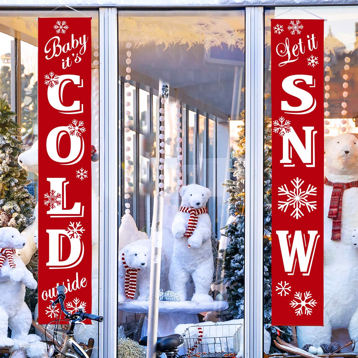 Winter Porch Sign Baby It's Cold Outside/Let It Snow Banner Snowflake Wall Decoration Snowflake Window Decal Hanging Decoration for Winter Party Decoration Snowflake Holiday Party (Red White Baby It'