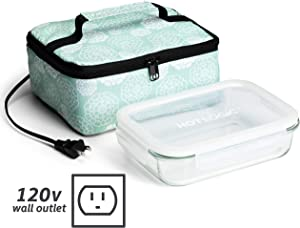 HotLogic 16801155-AF Food Warming Tote Lunch Bag 120V with Glass Dish, Aqua Floral