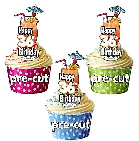 Decoración para cupcakes, diseño de cóctel de 36 cumpleaños ...