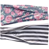"Women's Headband Yoga Running Exercise Sports Workout Athletic Gym Wide Sweat Wicking Stretchy No Slip 2 Pack Set Floral Gray Stripe ""BODHI"" by Maven Thread"