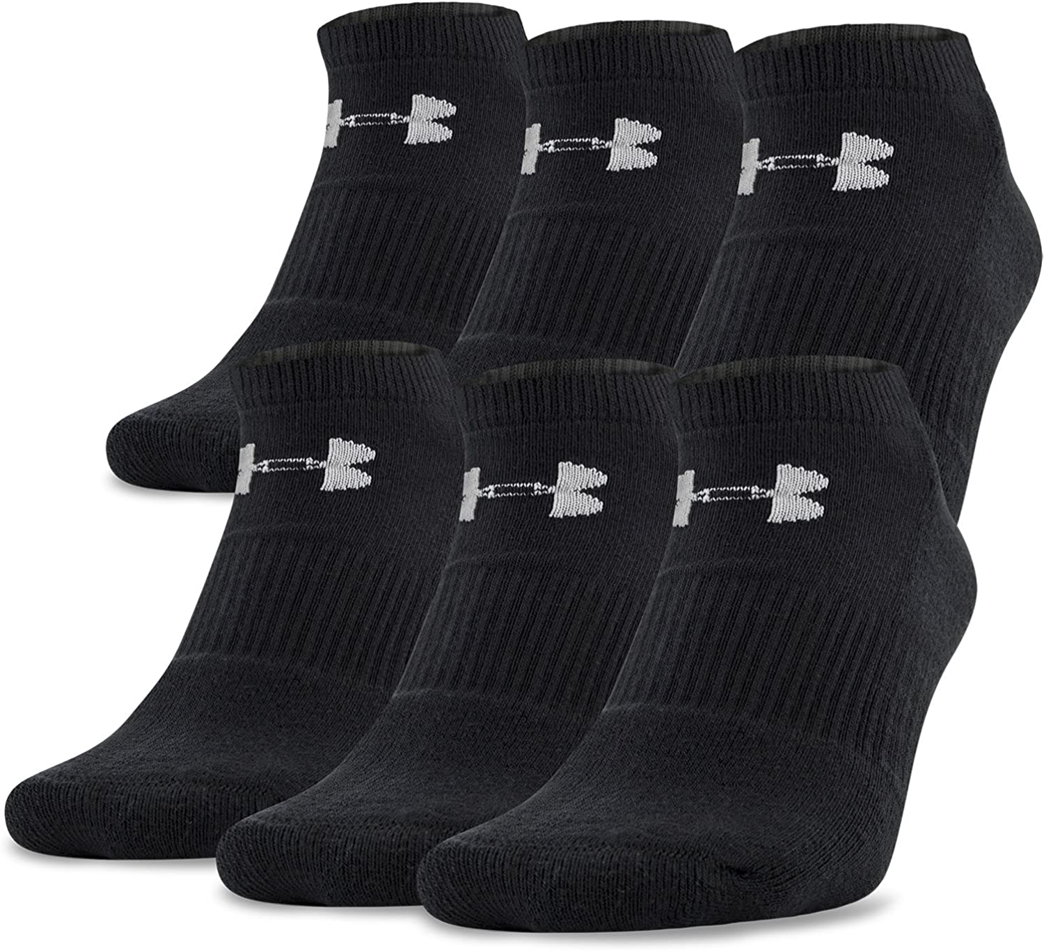Under Armour Adult Charged Cotton 2.0 No Show Socks, 6-Pairs: Clothing