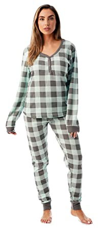 78f50eaf2 #followme Buffalo Plaid 2 Piece Base Layer Thermal Underwear Set for Women  6372-10195