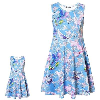 "Jxstar Matching Girls & Doll Flower Dresses Sleeveless Summer 18"" Dolls Clothes: Clothing"