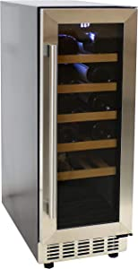 Sunnydaze Stainless Steel Beverage and Wine Cooler Single Zone Refrigerator with Sliding Wooden Shelves, Touchpad Temperature Control and LED Light - 20-Bottle Capacity