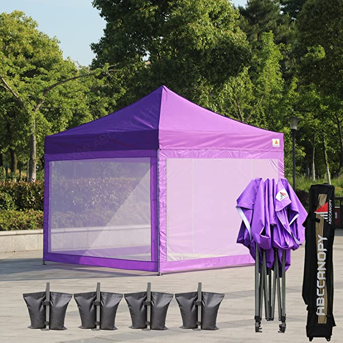 3d3a1ce586b (18+ colors)AbcCanopy 10x10 Easy Pop up Commmercial Canopy Tent with  Matching White Mesh Walls Bonus Rolly Carry Bag and