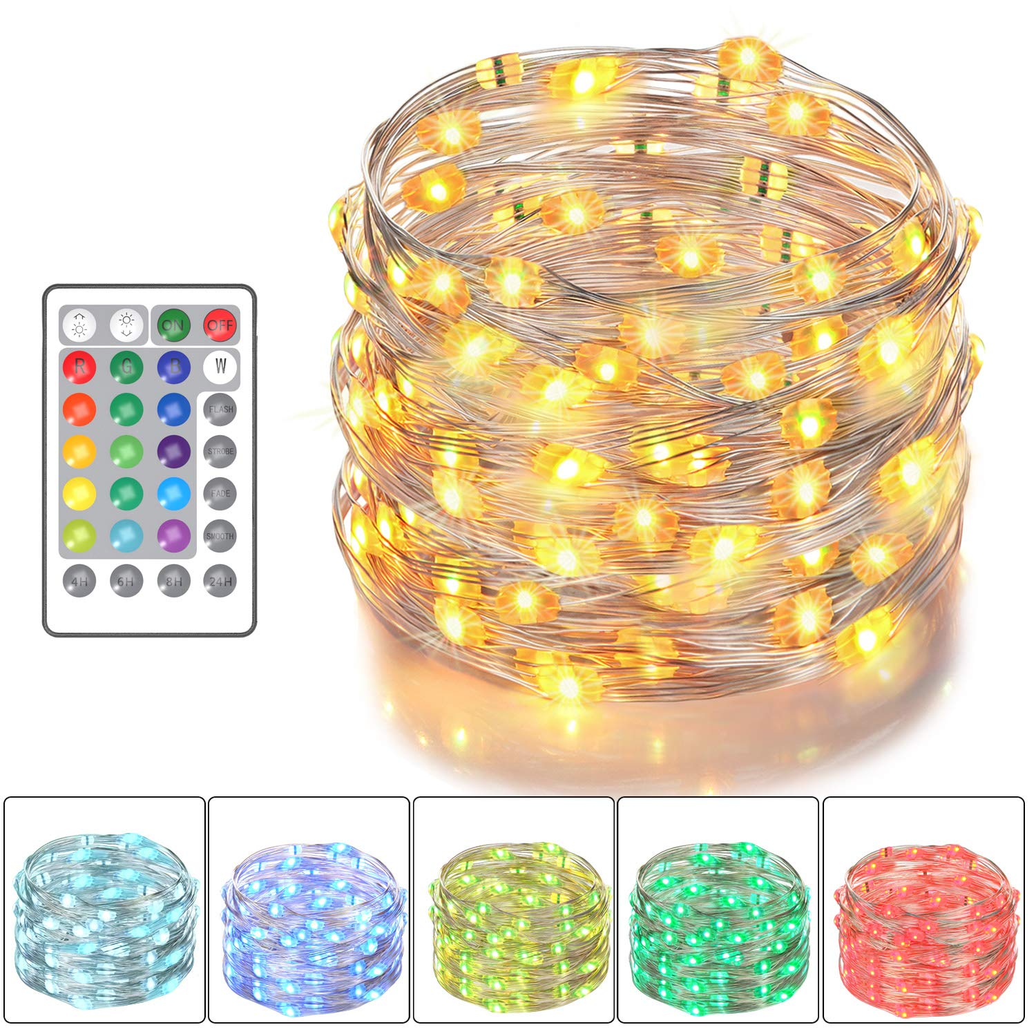 Asmader Led Fairy Battery Powered For Bedroom Patio Strobe Circuit Amazon Account Pinterest Indoor Party Garden 16 Multi Color Changing String Lights With Remote Control