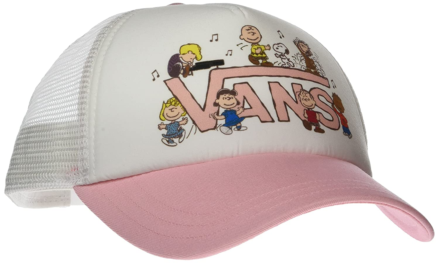 8273b5074a Vans Off The Wall Women s Peanuts Dance Party Trucker Hat Cap - White Pink  at Amazon Women s Clothing store