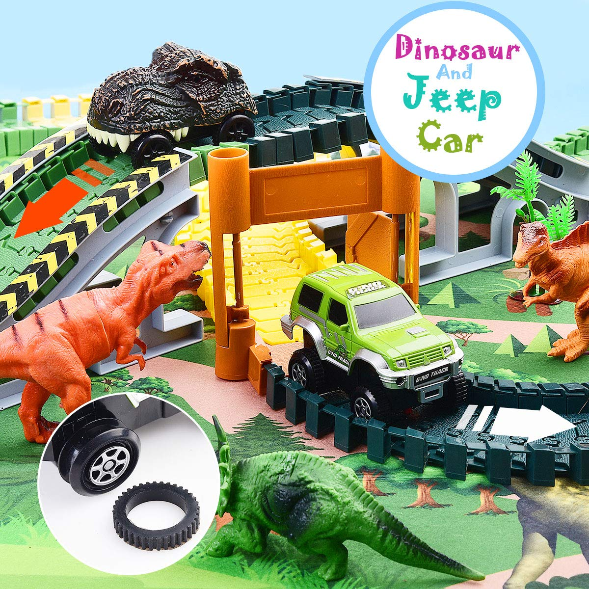 Mitcien Dinosaur Toys-195pcs Create A Dinosaur World Road Race-Flexible Track Playset and 2 pcs Cool Dinosaur car for 3 4 5 6 Year /& Up Old boy Girls Best Gift