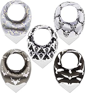Giftty Bandana Bibs with Teething Corner, Teething Bib, BPA-Free Silicone Teether and Adjustable Snap for Baby Boys, (Black Forest, 5-Pack)