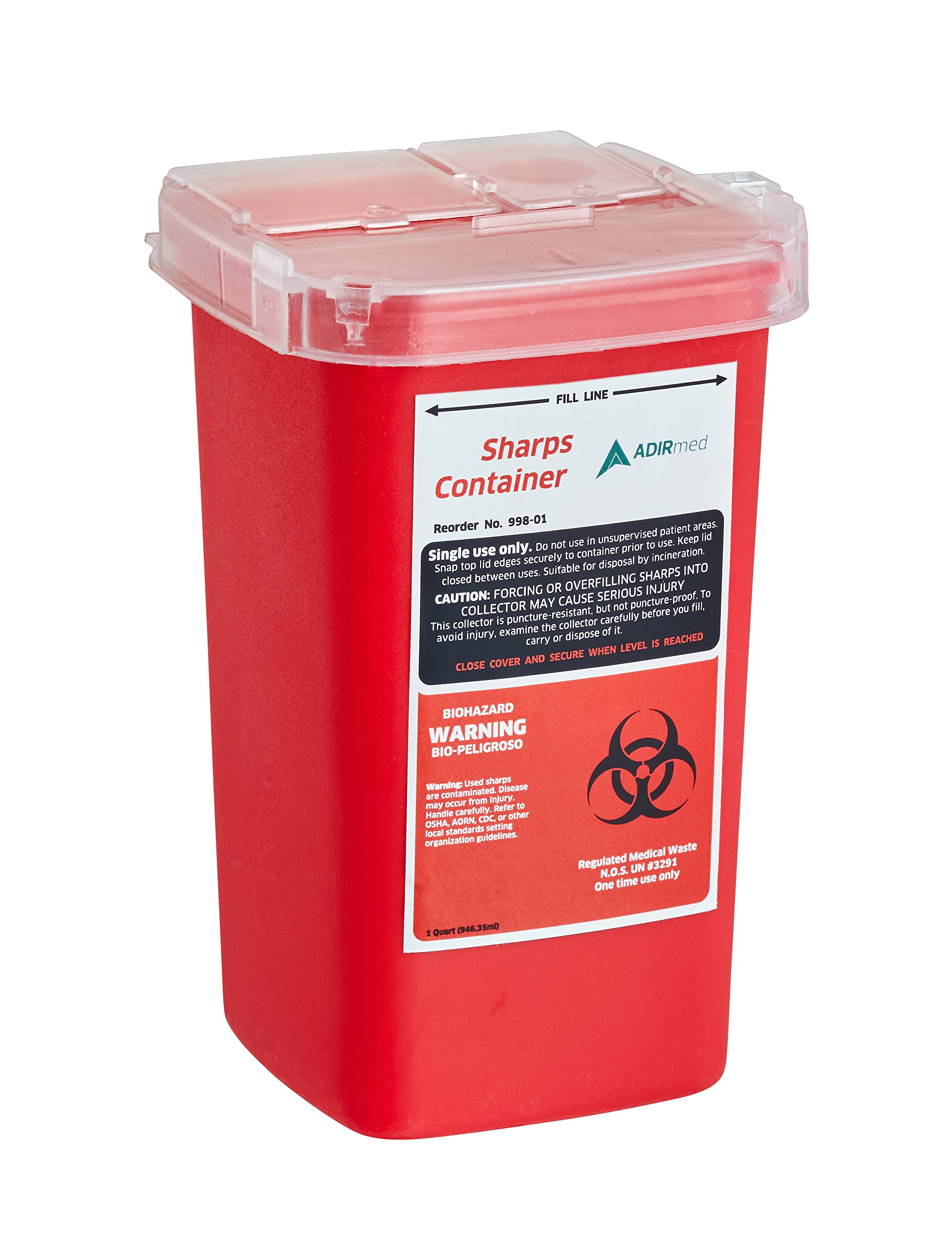 AdirMed Sharps & Needle Bio-Hazard Disposal Container 1 Quart - 1 Pack