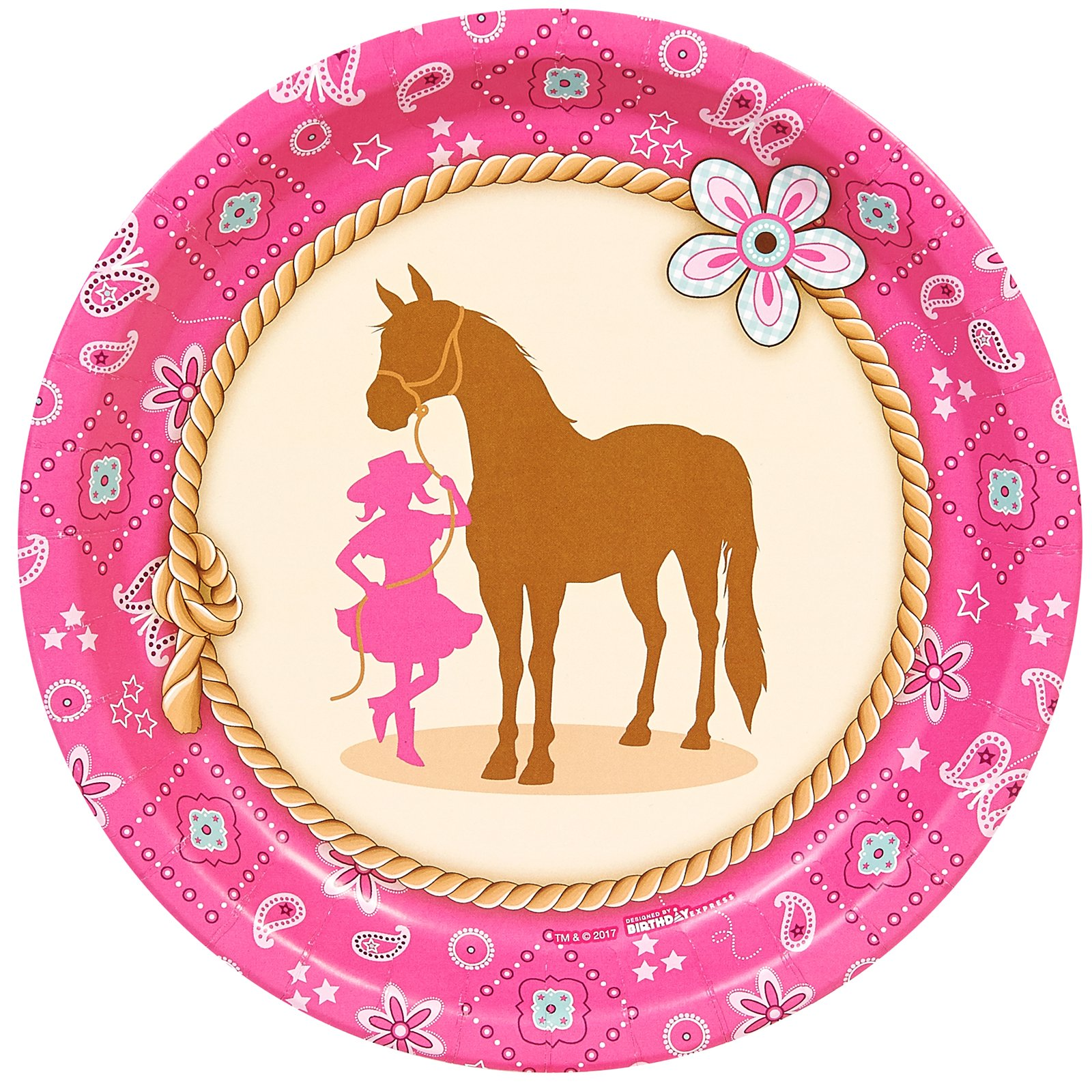 BirthdayExpress Western Cowgirl Party Supplies 9'' Paper Dinner Plate (8)