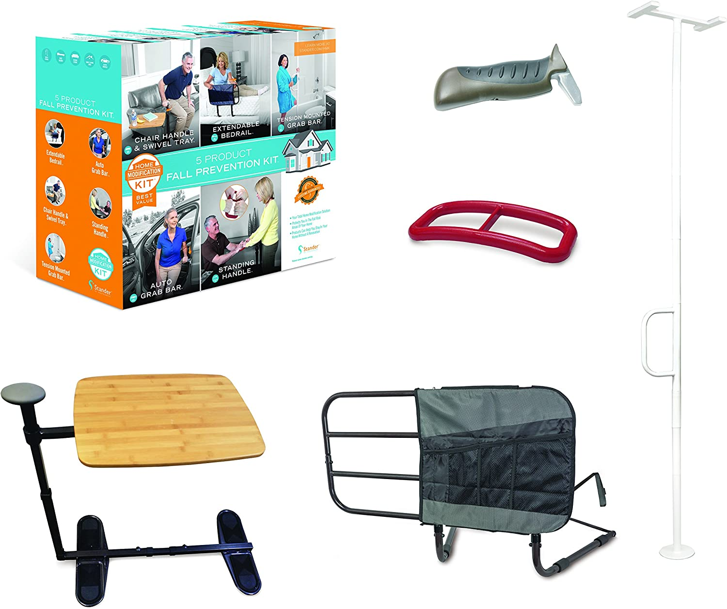 Stander 5 Piece Fall Prevention Kit - All in one Kit Includes Extendable Bed Rail, Chair Handle & Swivel Tray Table, Tension Mounted Grab Bar, Auto Grab Bar & Standing Handle