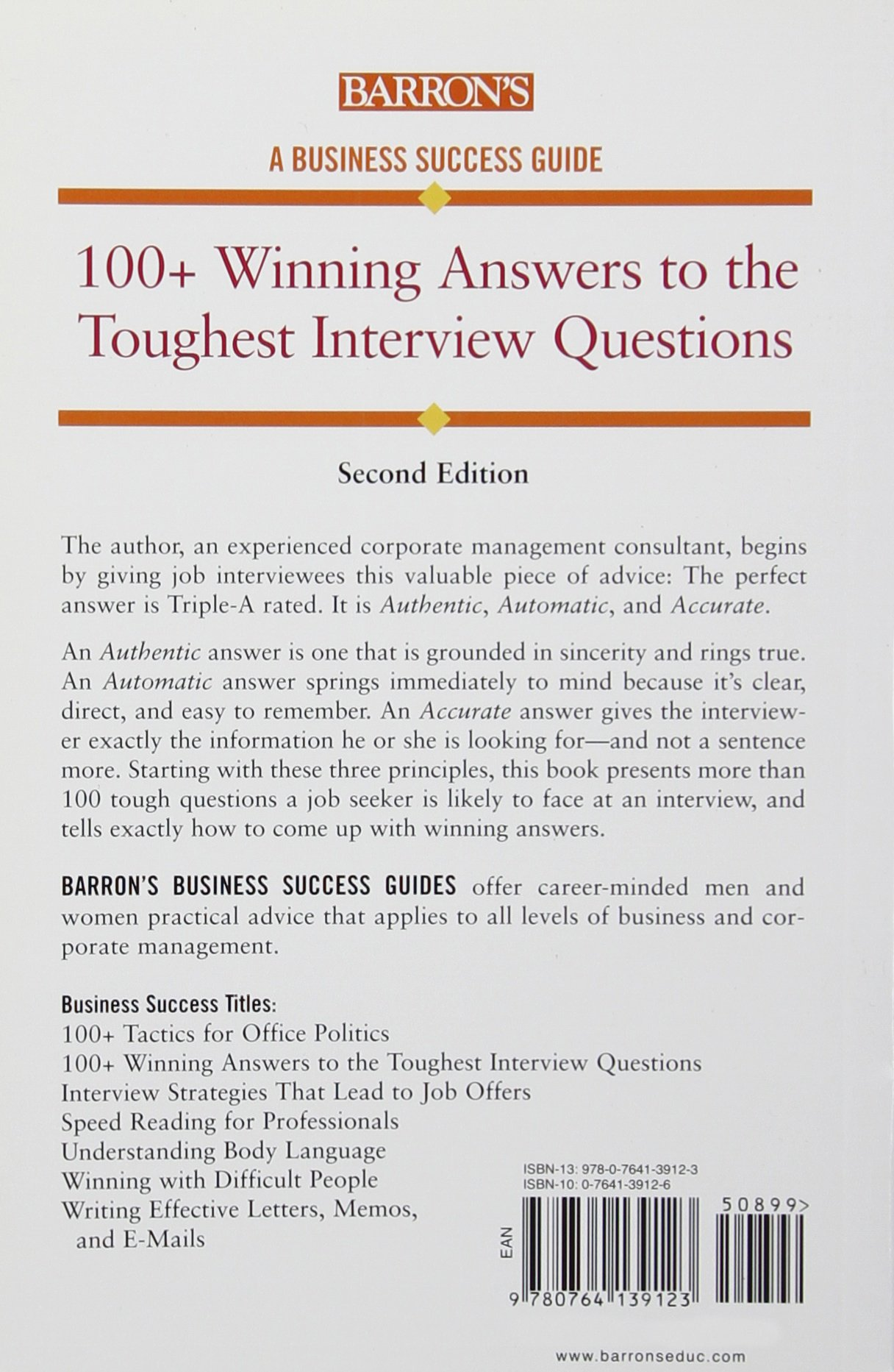 100 winning answers to the toughest interview questions barron s 100 winning answers to the toughest interview questions barron s business success casey hawley 9780764139123 amazon com books