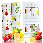 Bambi Bamboo Muslin Swaddle Blankets, Strawberry Lemon, Extra Large Unisex Breathable Ultra Soft, 47x47 inches, Perfect Baby Shower Gift
