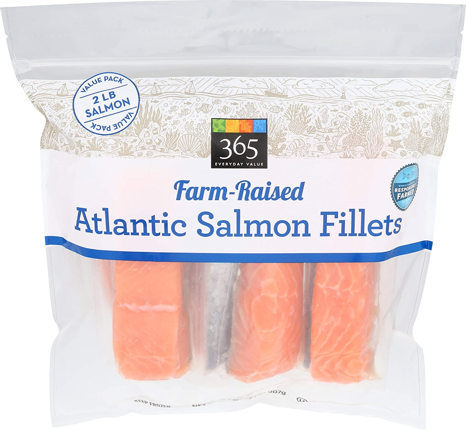 365 Everyday Value, Farm-Raised Fish, Atlantic Salmon Fillets, 32 Ounce (Frozen)