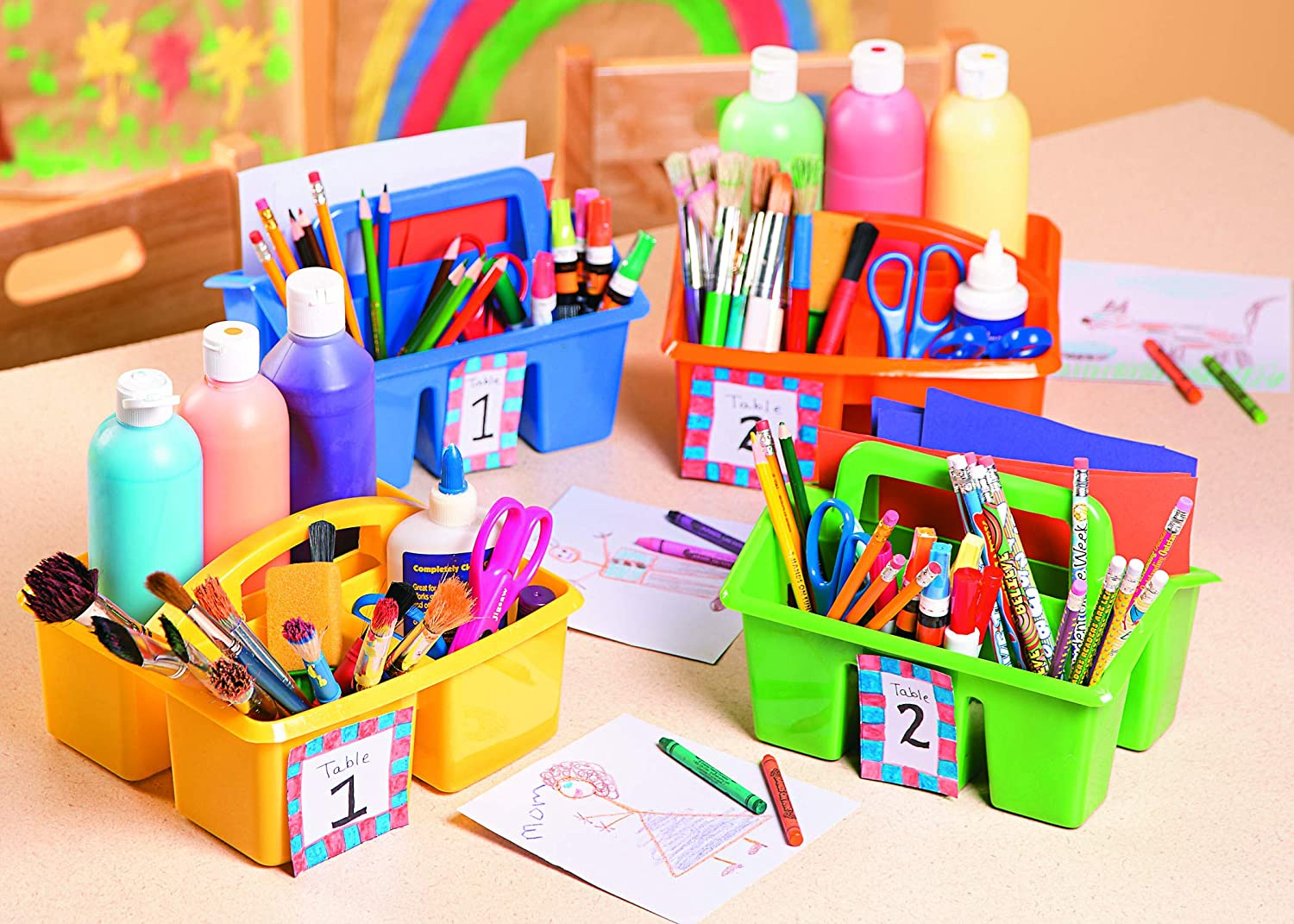 Colored caddies holding school supplies.