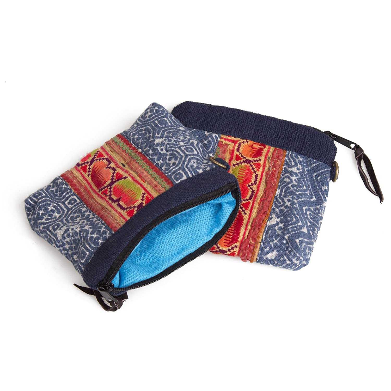 Changnoi Unique Womans Coin Purse with Vintage Hmong Embroidered Fabric and Batik Fabric in Blue
