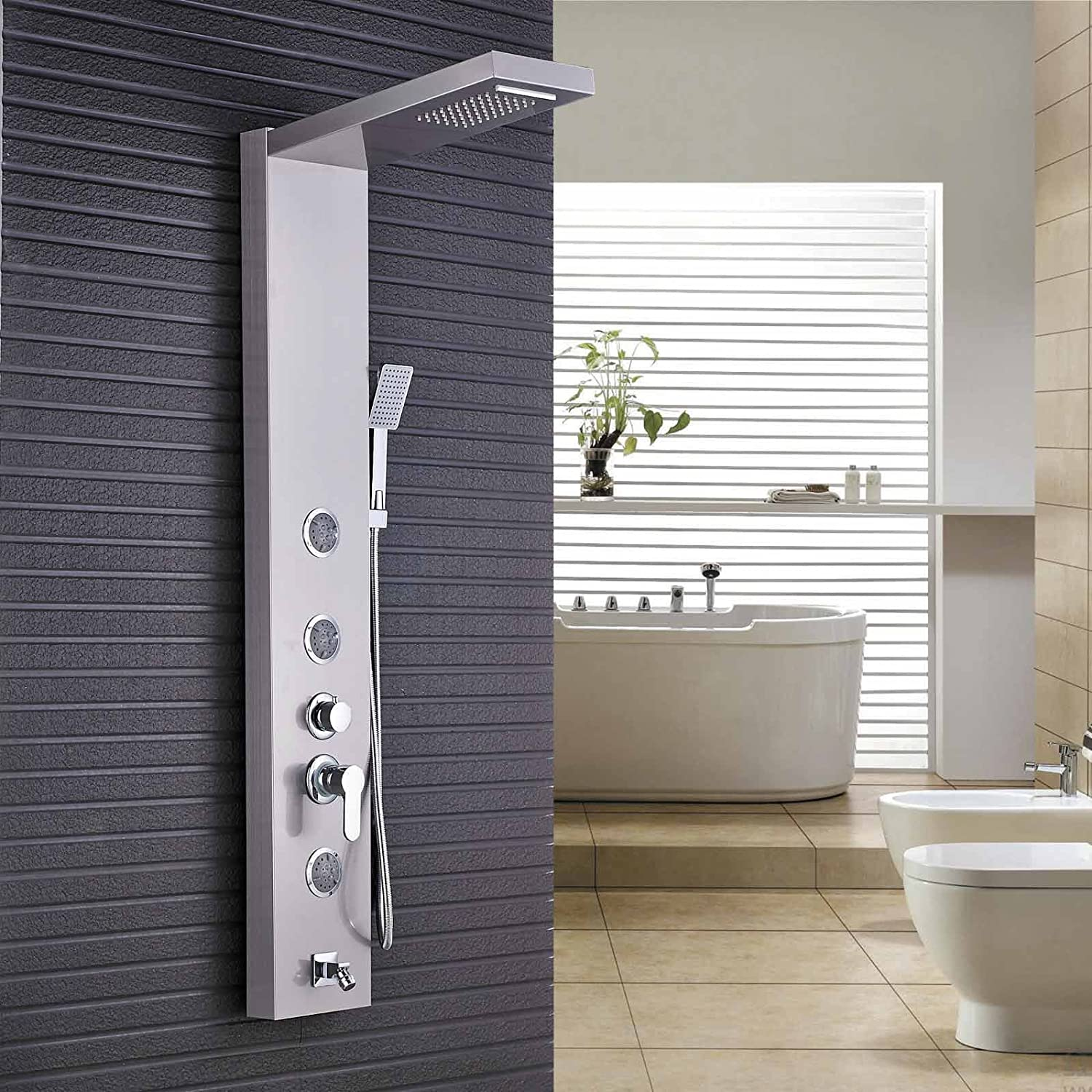 Rozin Brushed Nickel Rain Waterfall Shower Panel Set Body Jets ...