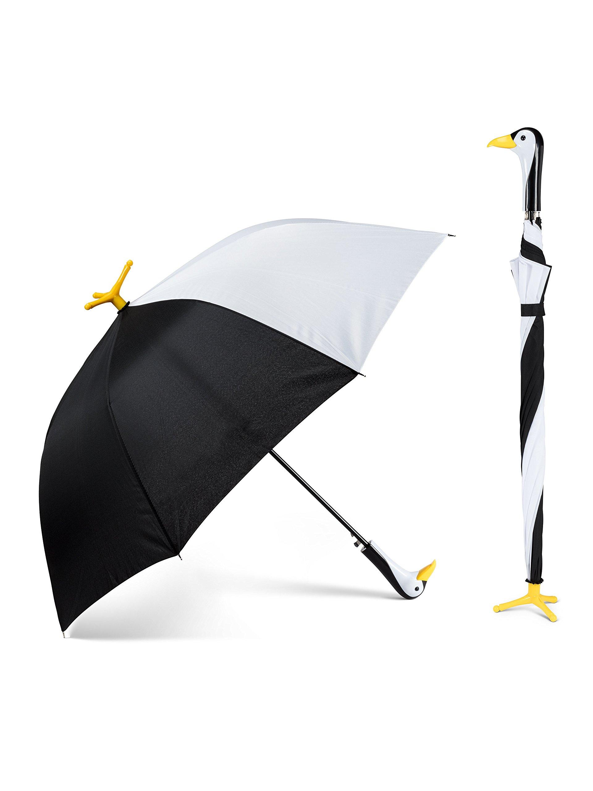 Abbott Collection 27 UMB Penguin Stick Umbrella-40 W, Black and White