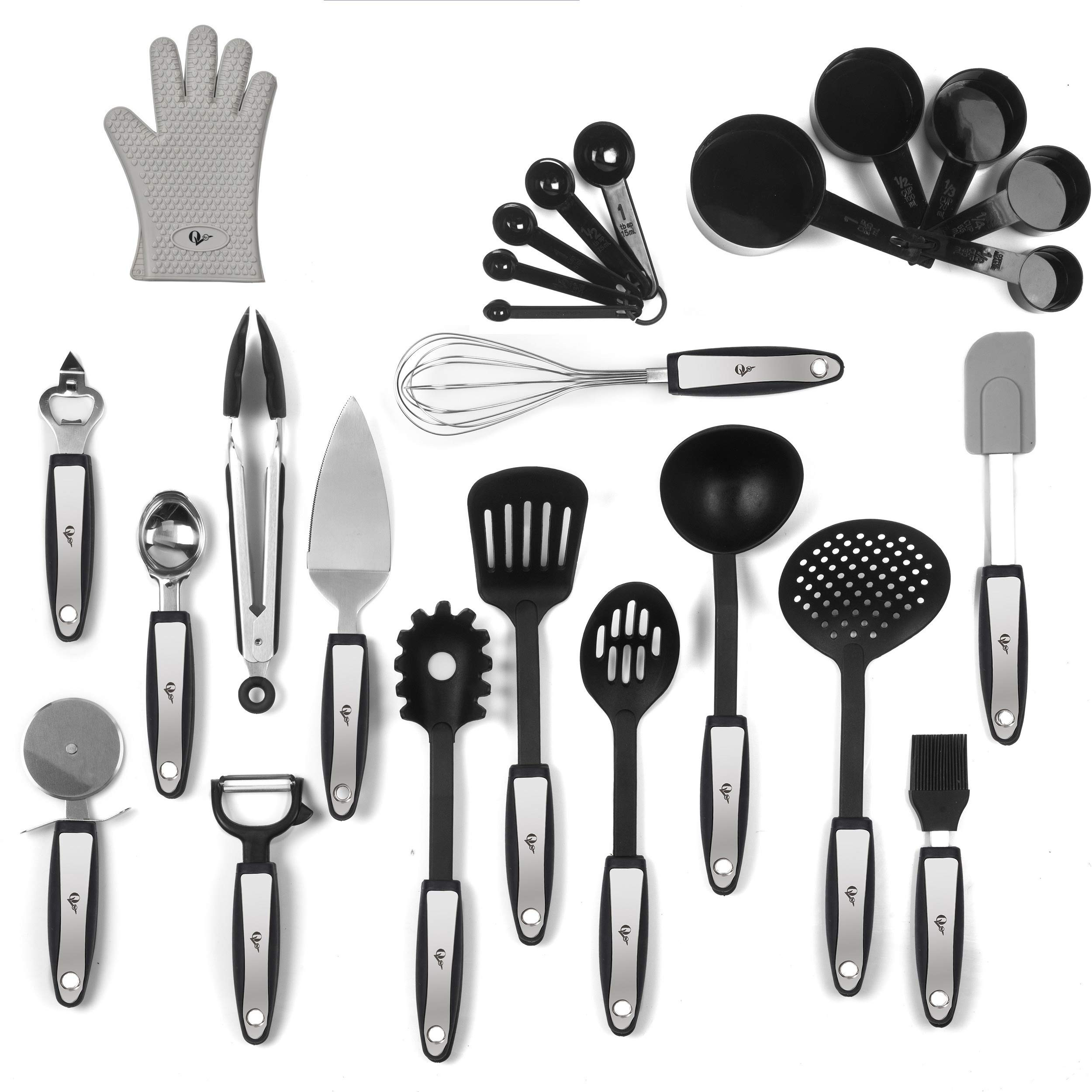 25 Piece Kitchen Tools Set Stainless Steel and Nylon Utensils Tongs, Spatula, Pizza Cutter, Bottle Opener, Brush, Spaghetti server, Soup ladle, Big Whisk,AND MORE buy it and GET Silicon Oven Glove