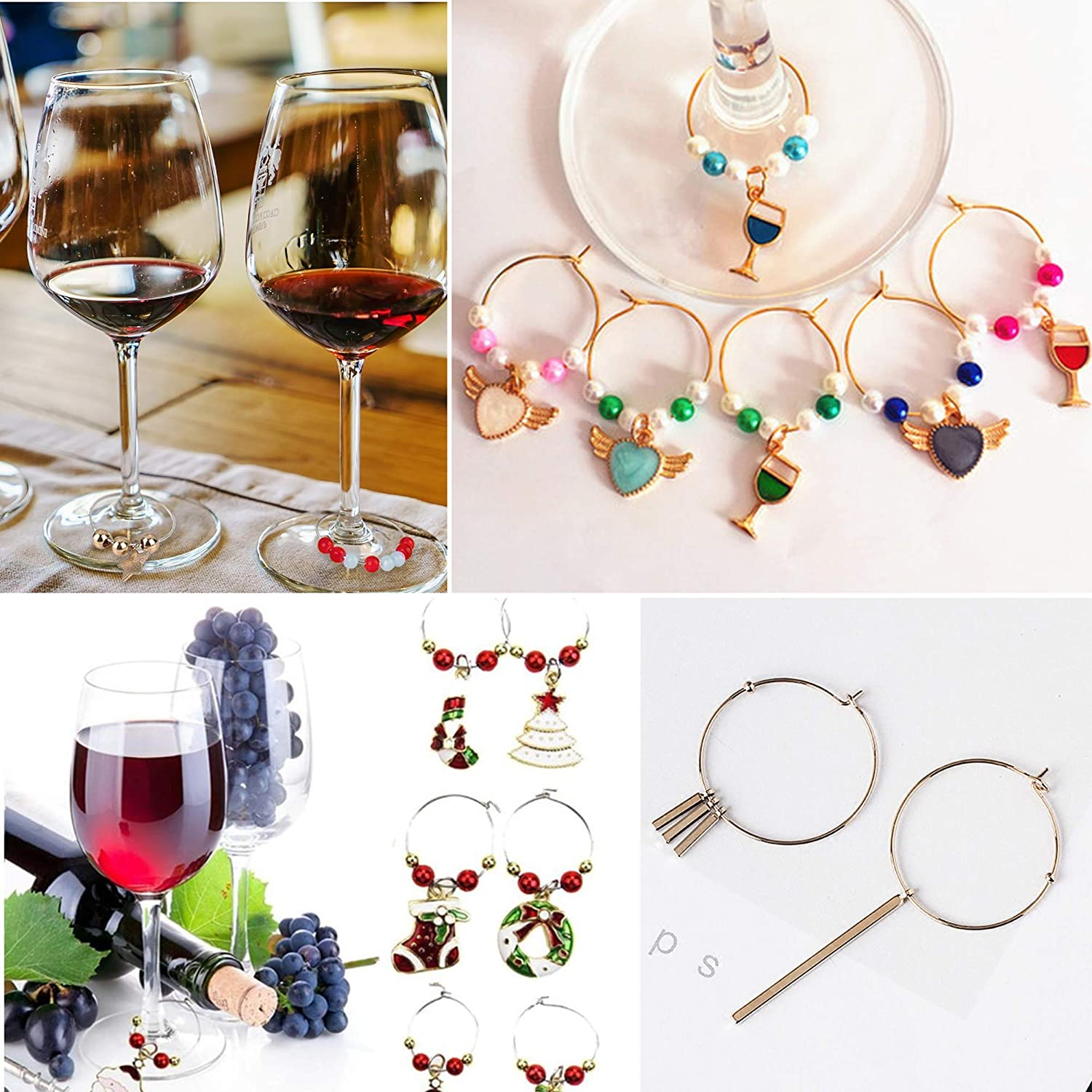 TOAOB 100pcs Gold Tone Wine Glass Charm Rings Earring Beading Hoop 35mm for Party Favor