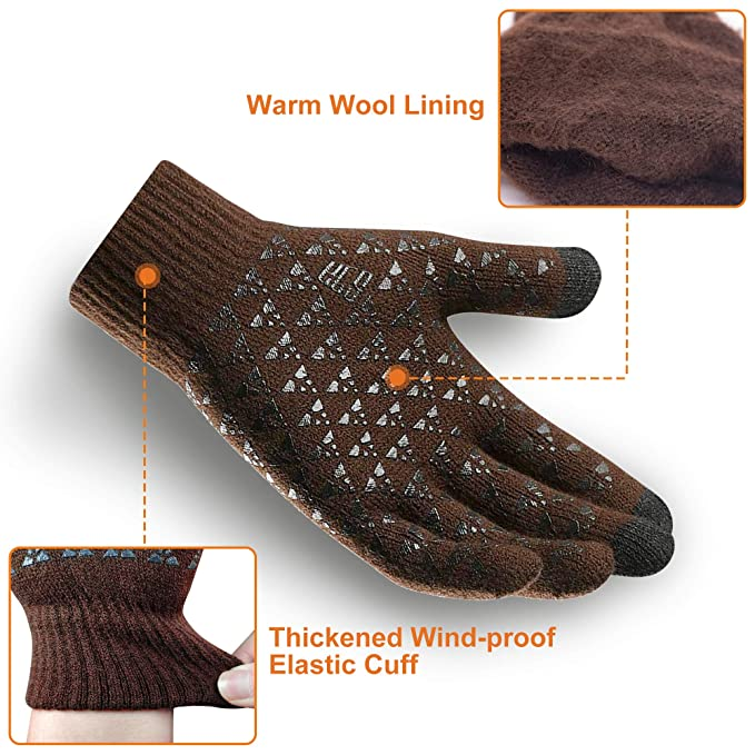 TMTO Touch Screen Knitted Anti-slip Gloves Wool Lined Warm Winter 3 Touchscreen Fingers Texting Unisex Brown