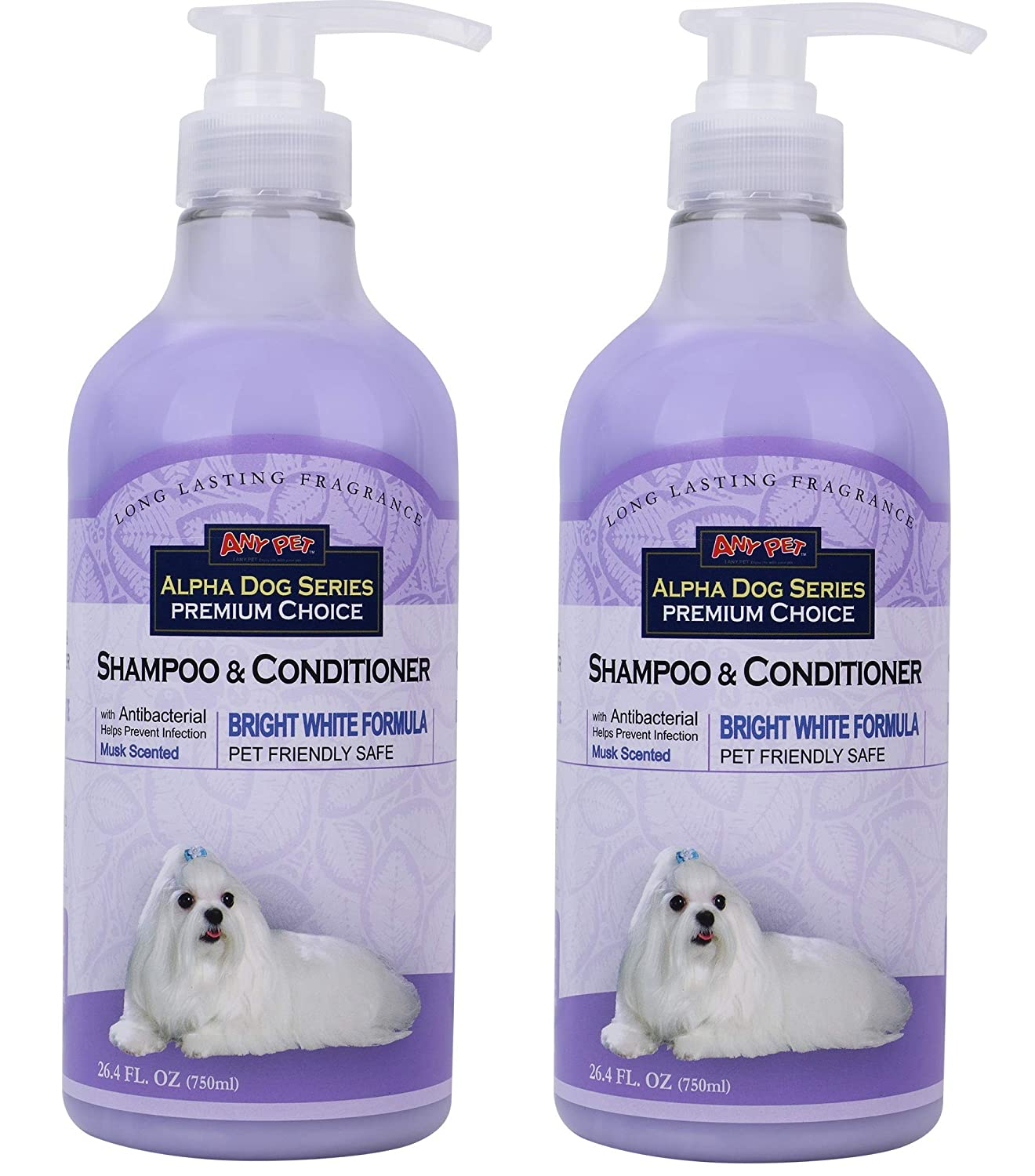 All Natural, Hypoallergenic | Whitening Shampoo + Conditioner with Aloe Vera | Antibacterial | pH Balanced | Tear Free | Detangler & Moisturizer | Odor Eliminator | Grooming Quality - (PACK OF 2)