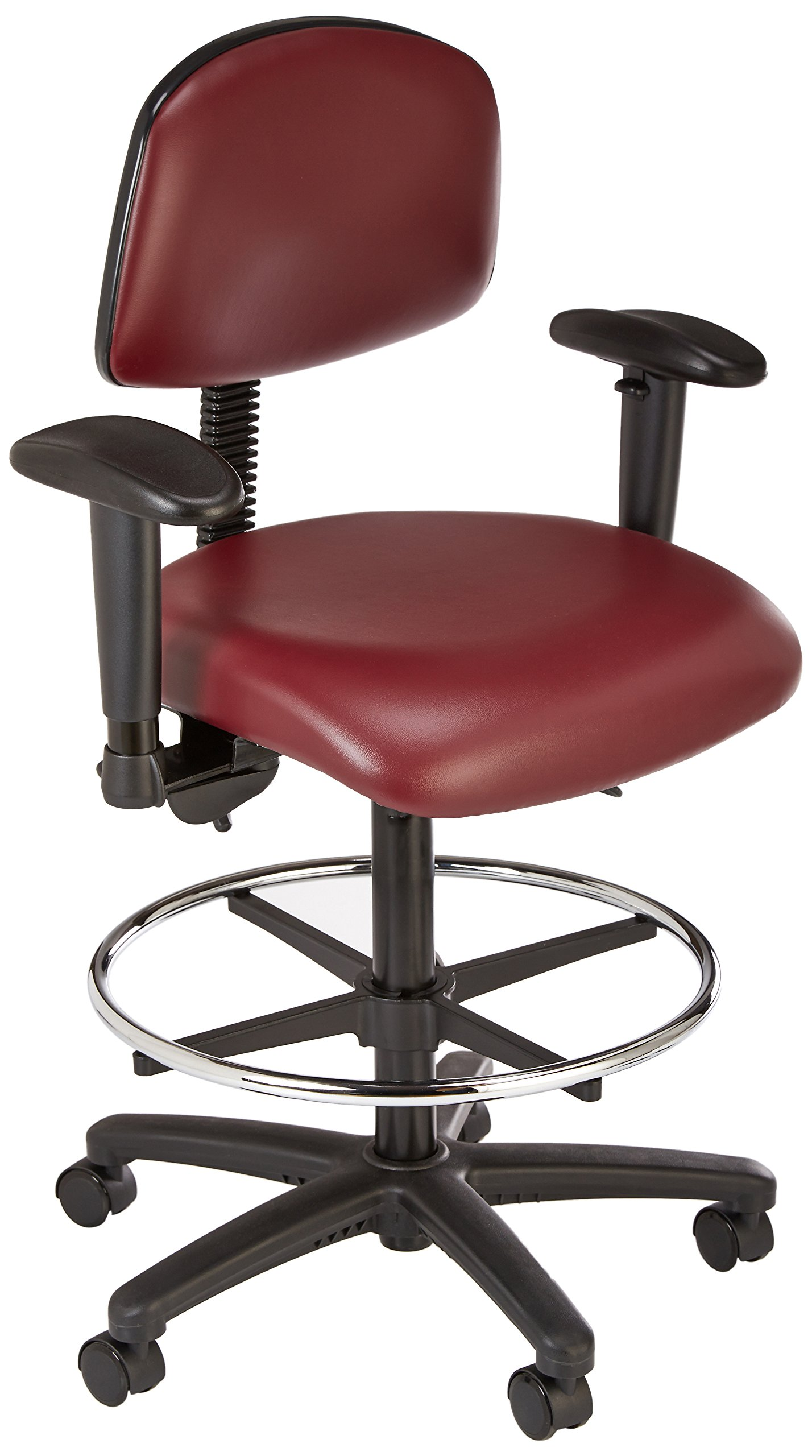 Thomas Vinyl High Bench Height Chair with Black Nylon Base, With Chrome Foot Ring and Tilt Seat and 6 way adjustable arms, 25'' to 35'' Adjustable Heights, Burgundy