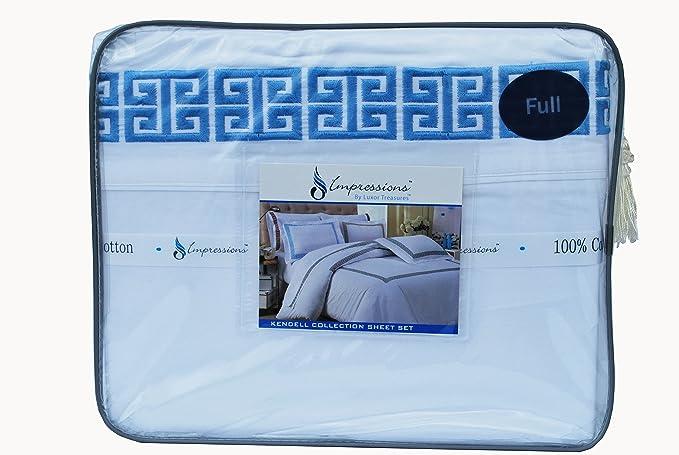 Impressions Superior - Juego de sábanas Kendell 152 x 203 cm, 100% algodón, con Bordado Greco, Color Blanco/Azul Claro, 4 Piezas: Amazon.es: Hogar