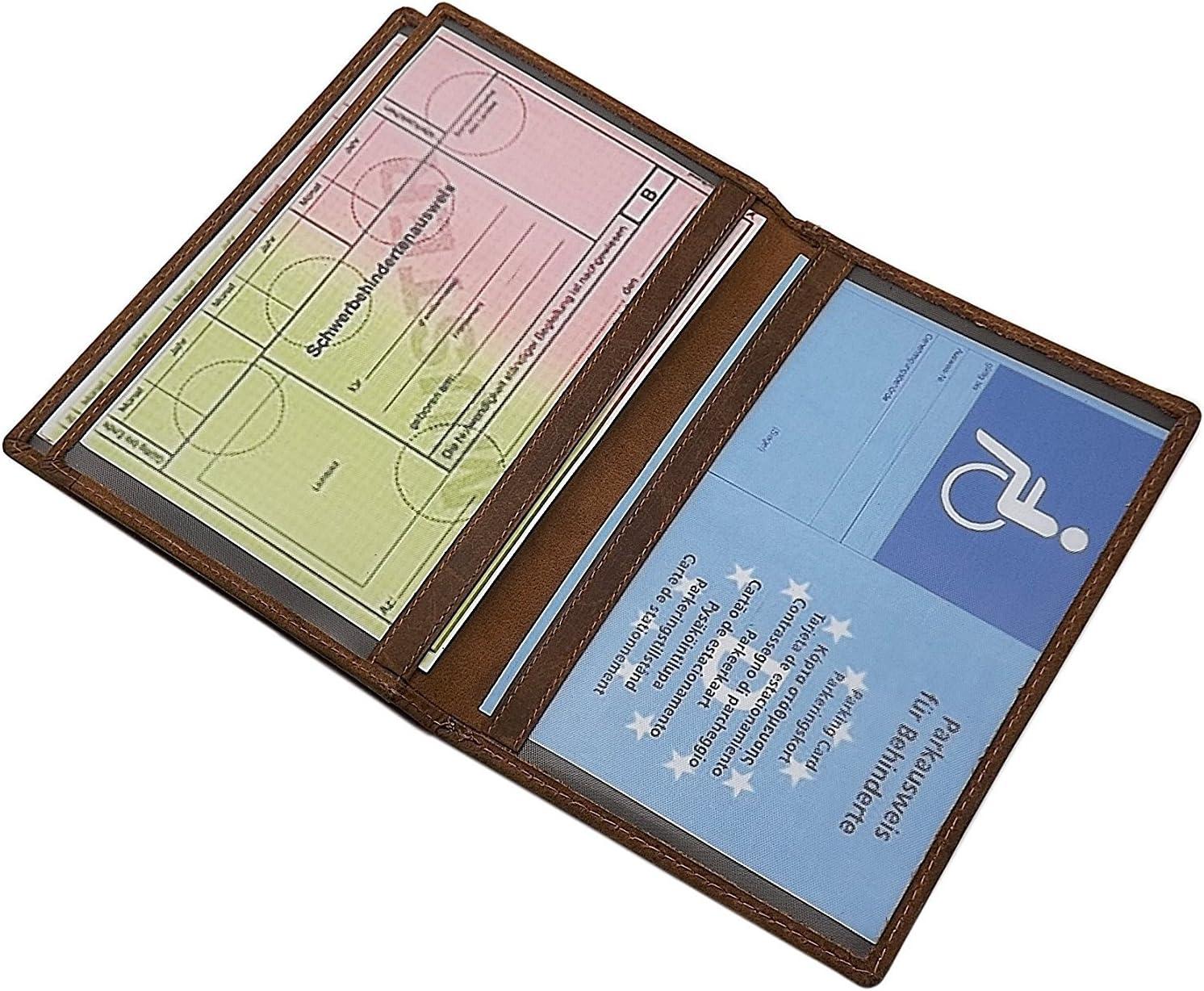 or Fish-Motif in Brown Buffalo Full Leather ID Card Holder with Deer- Wild-Boar- Deer Motif