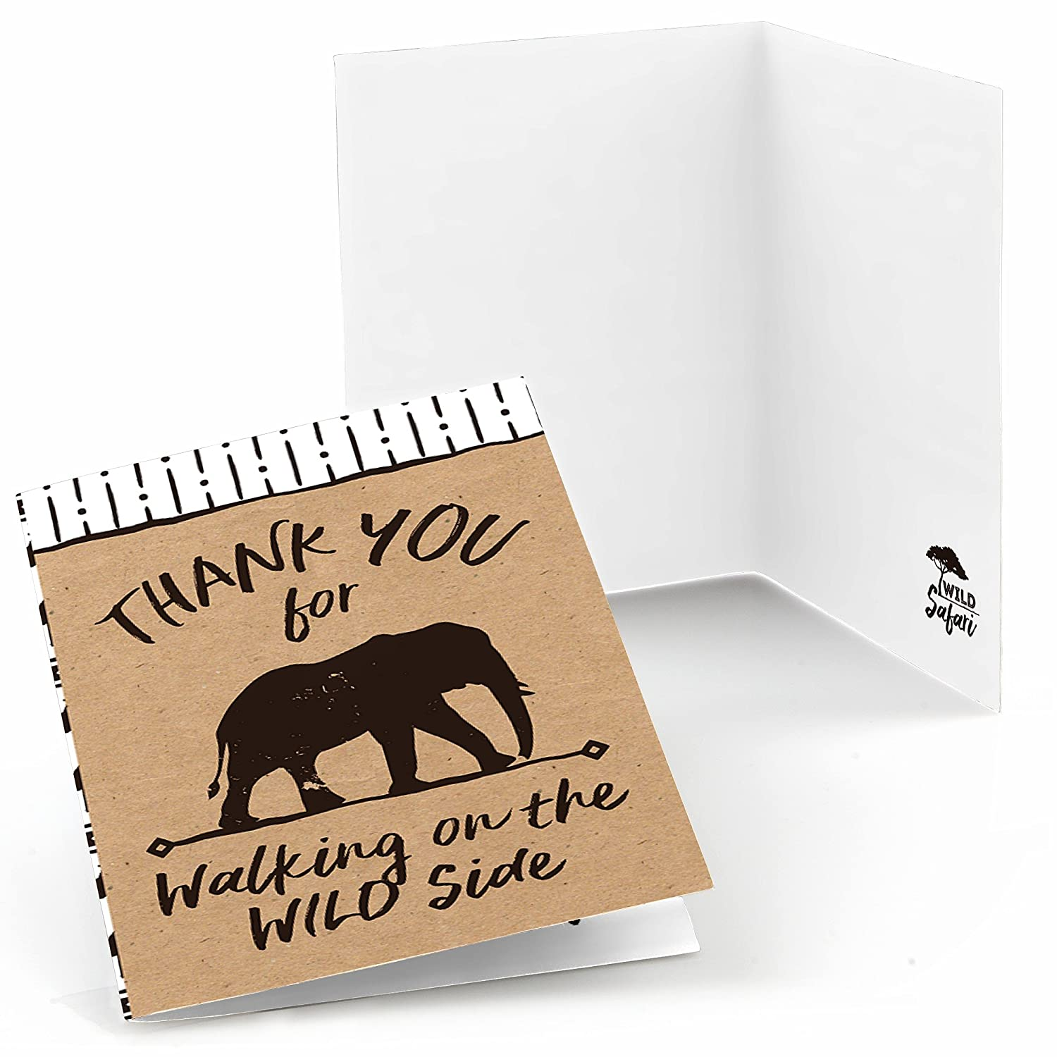 Big Dot of Happiness Wild Safari African Jungle Adventure Birthday Party or Baby Shower Thank You Cards 8 Count
