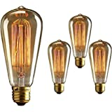 Homesake Pear Shape Edison Tungsten Squirrel Cage Filament Vintage Antique Light Bulb E27 ST64, Set of 4