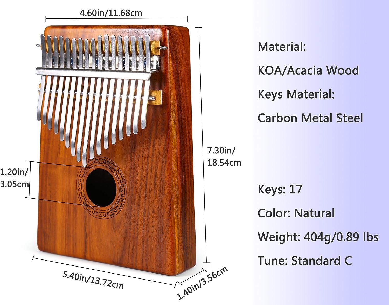 Asmuse Kalimba Thumb Piano 17 Teclas Mbira Madera Maciza Finger ...