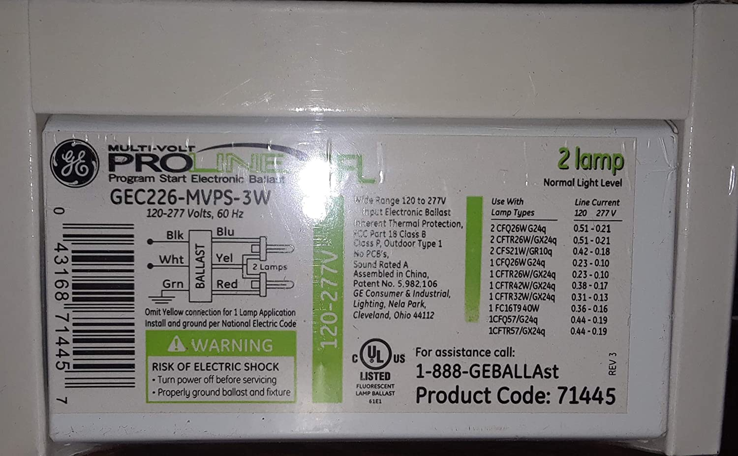 GE 63097 - GEC226-MVPS-3W Compact Fluorescent Ballast (10-pack) General Electric