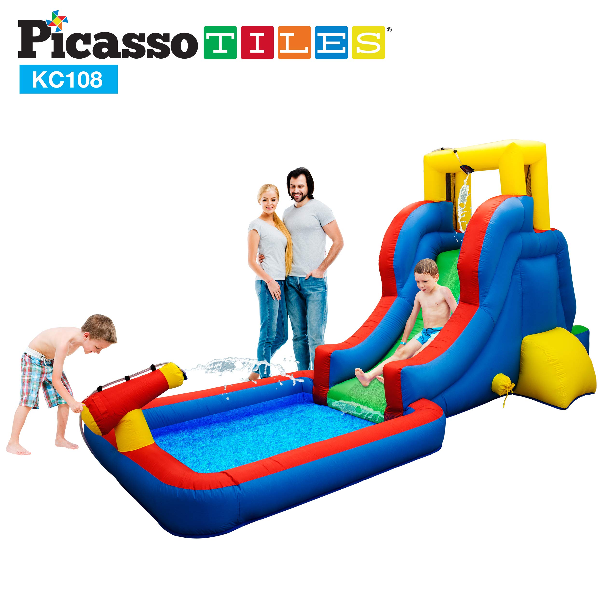 PicassoTiles KC108 Water Slide Park Inflatable Bouncing House w/ Pool Area (Splash Zone), Climbing Wall, Shower Head Sprays Mounts, Water Cannon Mount and Heavy Duty GFCI ETL Certified 385W Blower by PicassoTiles