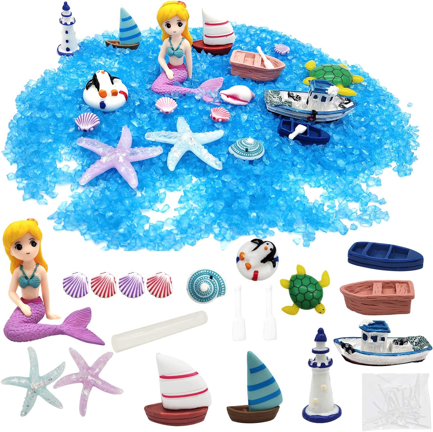 ZJW 18 Pieces Miniature Fairy Garden Accessories, Mermaid Mini Figurines Ornaments Decorations DIY Kit for Fairy Garden, Dollhouse